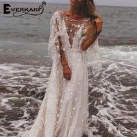 malha de vestidos de noiva sem encosto venda por atacado-Star Mesh Maxi Vestido de Casamento Das Mulheres Forro Sem Encosto Profundo Decote Em V Manga Comprida Elegante Bohemian Vestidos Femininos 2019 Verão T5190604