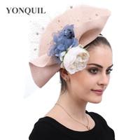 Wholesale women party clip hats resale online - Imitation straw hair fascinator hats hair clip women fashion flower party hat race derby show accessories bridal wedding