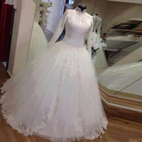 Wholesale lace overlay dress train for sale - Group buy Mandarin Collar Modest Muslim Wedding Dresses with Long Sleeves Muslim Wedding Gowns with Front Split Overlay Skirt Custom Made Bridal Dress