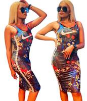joelho comprimento vestuário venda por atacado-Marca Designer Mulheres Vestidos Flora Impresso Vestido Na Altura Do Joelho-Comprimento Sem Mangas Bodycon Scoope Pescoço Roupas De Verão Uma Peça Saia Tanque Vestido 767