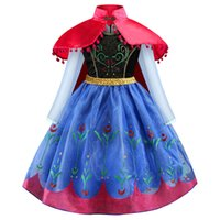 Wholesale fairy cloak resale online - Girls Princess Cosplay Dresses Printed Stage Performance Costumes Plus Cloak Kids Clothes Christmas Party Show Dress