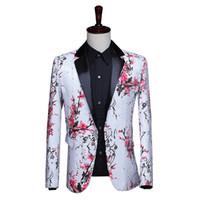 tuxedo anzug schwarz farbe großhandel-Herren Shiny Color Druck Pailletten Anzug Jacke Blazer Rot Splitter Schwarz Single Button Smoking für Party, Hochzeit, Bankett, Prom