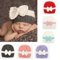 Wholesale infant ear muffs resale online - Crochet Baby Winter Spring Hat Bow Newborn Beanie Baby Girls Cotton Knit Beanie Infant Striped Caps Toddler Hat years