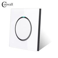 kristal cam ışık anahtarı toptan satış-Coswall Yeni Varış Kristal Cam Panel 1 Gang 2 Yollu Rastgele Tıklayın LED Göstergesi Ile Push Button Duvar Işık Anahtarı