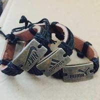 pulseras deportivas personalizadas al por mayor-Personalizado Punk Negro Tejido Hecho A Mano Cuerda Hombres mujeres Pulseras de Cuero deportes Casual Hombres Joyería niños niñas amistad regalo de Navidad