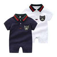 Wholesale cat collar cartoon online - INS Baby Romper Summer Kids high quality cotton short sleeve cartoon Sequined cat head romper kids designer clothing