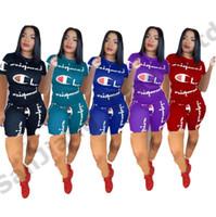 camisas do verão dos juniors venda por atacado-Mulheres Verão Shorts Set Campeões Carta Impressão Júnior Meninas Treino de Manga Curta Esportes Jogging Set T-shirt + Shorts Calças 2 pcs Outfit A3162