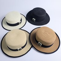 Wholesale flat summer straw hat for sale - M Letter Flat Top Hat Fashion Woman Stingy Brim Straw Cap Summer Outdoor Lady Travel Beach Shade Sunscreen Hat TTA893