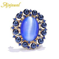 Wholesale cz brooches pins for sale - Group buy Ajojewel Luxury Blue Opal Oval Brooch Women Simulated Pearl Brooches With CZ Jewelry Gifts For Girls Fashion Collar Pins