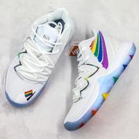 renkli nakışlar toptan satış-Kyrie Beş Nakış Basketbol Ayakkabıları 2019 Erkek Renkli Yama Resmi Yeni Tasarımcı Atletik Spor Sneaker Trainer
