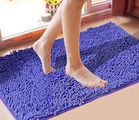 tapetes de banheiro azul venda por atacado-Grosso Chenille Tapete Quarto Cozinha Sala de estar Tapete Do Banheiro Porta Antiderrapante Tapete Tapete Tapete Livre Bule