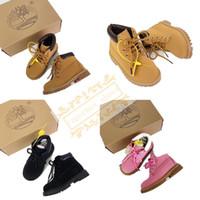 botas rosa us11 venda por atacado-Timberland Sapatos de Bebê À Prova D 'Água Sapatos de Designer de Botas de Corrida Sapatos de Desporto Das Mulheres Dos Homens Amarelo Preto Rosa Sapatilhas Formadores Com Caixa 26-34