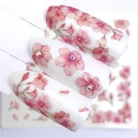 ingrosso free art strip-Cursore per trasferimento dell'acqua fiore rosa 1 foglio per decorazione unghie per unghie
