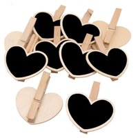 Wholesale mini chalkboard wooden clip resale online - Mini Wooden Message Blackboard Chalkboard Clip Forest Wedding Decor Milk Tea Shop Price Display Board Pieces DHL
