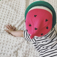 Wholesale baby beanies patterns online - Lovely Cute Baby Kids Baby Knitted Acrylic Beanie Hats Winter Children Unisex Watermelon Patterns Caps Styles