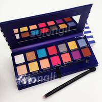 multi-augen-schatten großhandel-Neue Ankunft Makeup Riviera 14 Farbe Lidschatten-Palette mit Pinsel Schönheit Schimmer Matt Lidschatten Hügel Palette versandkostenfrei