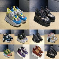 Wholesale red fashion shoes for men for sale - Group buy 2019 New Fashion Chain Reaction Platform Sneakers Luxury Running Shoes For Men Women Pink Blue Black Green Designer Shoes Trainers