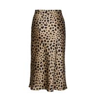 resbalón de satén caliente al por mayor-Venta caliente de Cintura Alta Leopardo Midi Falda Mujer Oculta Elasticized Cintura Seda Satén Faldas Estilo Slip Animal Imprimir Falda de las mujeres