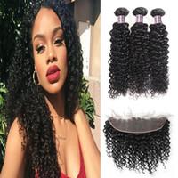 Wholesale brazilian hair lace frontal closures resale online - 8 Indian Loose Wave Bundles with Lace Frontal Closure Peruvian Deep Wave Kinky Curly Human Hair Bundles with Closure Body Straight