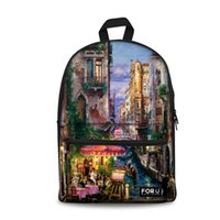 Wholesale pretty girls backpacks resale online - Venice printing backpacks women Eiffel Tower pattern teenage girls canvas backpack for back to schoo bags pretty travel daypack