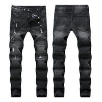siyah klasik kot erkekler toptan satış-Klasik Siyah gri Renk Moda Erkek Kot Slim Fit Denim Motor Jeans Homme Pantolon Balplein Biker Jeans Erkekler