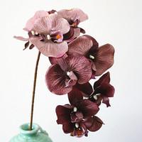 ingrosso farfalla di orchidea di falena artificiale-10 teste Big Artificial Orchid Fiori Europeo Retro Style Moth Butterfly Orchidee Decorazione della Festa Nuziale Falsa Flores di seta