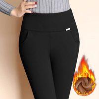 брюки для девочек оптовых-Nigrity женщины зима теплые брюки твердые тощий толстый бархат шерсть флис-подкладка девушки высокая талия леггинсы карандаш брюки Леди брюки