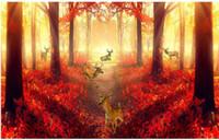 фон на лесной стене оптовых-Красный лес телевизор фоне стены картины росписи 3d обои 3d стены обои для ТВ фоне