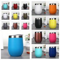 Wholesale double wall tumblers resale online - hot Stemless Wine Glass Drinking cup Tumbler with Lid Stainless Steel Double Wall Vacuum Insulated Travel Cup oz DrinkwareT2I5512