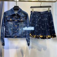 Wholesale mini girl suit resale online - High end women girls Short skirt Suit Short sleeve tee tops lapel neck tops coat denim jacket and Denim pleated letter printing skirt