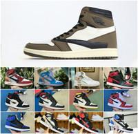 mediados de zapatos hombres al por mayor-2019 New Travis Scotts X 1 High OG Mid Shoes Barato Royal Banned Bred Black White Toe Hombres Mujeres 1s No para reventa Fragmento UNC Sneaker