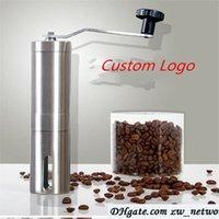 kahve değirmeni paslanmaz çelik toptan satış-Özel logo! Kahve Değirmeni Fasulye Mills Manuel Paslanmaz Çelik Taşınabilir Mutfak Taşlama Araçları Parfümeri Cafe Bar El Yapımı kahve değirmenleri
