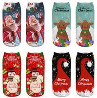 ingrosso calzini di natale di cartoni animati-Merry Christmas Socks Primavera Autunno Inverno Uomo Donna 3D Stampato Calzini di Natale