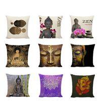 Wholesale buddha car resale online - Christmas sofa cushion set Buddha print cushion pillow sofa car cushion bedroom holy decorative pillowcase