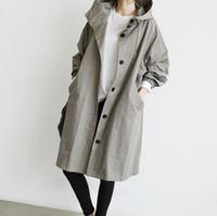 chaqueta coreana para mujer al por mayor-La MaxZa Coreano Loose Womens Trench Abrigos Inglaterra Estilo Vintage Diseñador Abrigos y chaquetas Harajuku Un solo pecho Mujeres Tops