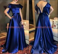 einfache ballkleider blau großhandel-Einfache Designer Satin Abendkleider mit Taschen Royal Blue Plus Size Formelle Kleidung Party Ball Vestido de noche Besondere Anlässe Prom Kleider