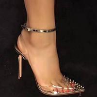 nuevos tacones de verano al por mayor-Envío gratis 2019 nuevas mujeres de la manera señora Slingback zapatos de mujer 2018 nueva primavera verano sandalias talones transparentes remaches de PVC zapatos de boda
