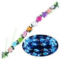 Wholesale crown door for sale - Group buy Christmas Wreath LED Flower Wreath Headband Crown Floral Garland Boho for Festival Wedding Decoration Door Decoration