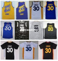 mavi beyaz malzeme toptan satış-Ucuz Yeni # 30 S SC Forması 2016 En Kaliteli Dikişli Mavi Beyaz Siyah Yeni Malzeme Nakış Basketbol Formaları Ncaa
