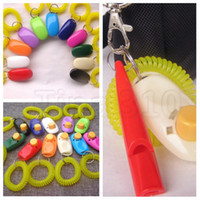 Wholesale dog whistle clicker for sale - Group buy new color fashion Pet training whistle Dog training clicker trainer wrist strap pet Training Tool T2I5099