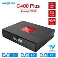 smart tv box dvb al por mayor-Magicsee C400 Plus Amlogic S912 Octa Core TV Box 3 + 32GB Android 4K Smart TV Box DVB-S2 Cable DVB-T2 Dual WiFi Smart Media Player