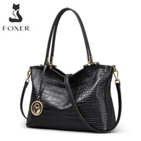 foxer bolsas venda por atacado-FOXER Women Genuine Leather Handbags Splice Design Alligator Lady Messenger Bag High Quality Female Vintage Style Totes Bolsa