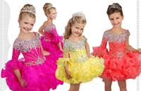 vestidos de concurso de la magdalena amarilla al por mayor-Lovely 2019 Cupcake Toddler Girls Vestidos del concurso Hot Pink Yellow Un hombro Manga larga Organza Short Ruffles Crystal Flower Girls