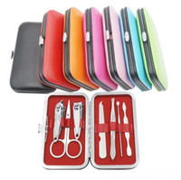 Wholesale manicure tool sets for sale - Group buy 7 Nail Clippers Kit Scissors Tweezer Knife Ear pick Utility Manicure Set Tools Random Colors ak074