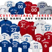 ingrosso baseball 15-Custom 27 Vladimir Guerrero Jr. 15 Randal Grichuk Blue Jersey Jays 29 Joe Carter 6 Marcus Stroman 14 Smoak Baseball Maglie