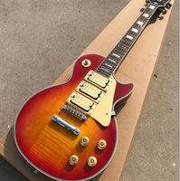 Wholesale custom made electric guitars for sale - Group buy 2017 queuing custom tiger flame electric guitar chrome hardware pickup cards old made old guitar guitar real photos