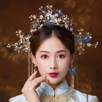 ingrosso lunghi capelli blu-Spostando la farfalla blu stile vintage cinese oro copricapo da sposa costume lungo nappa gioielli da sposa accessori per capelli