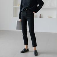 jeans preto quente das meninas venda por atacado-Verão Elástico Reta Denim Jeans Mulheres Calças Coreano Magro Fino Lápis Magras Meninas Streetwear Preto Apertado Estiramento Jeans Hot
