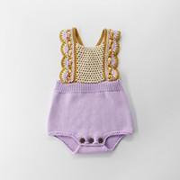 ingrosso nuovi vestiti in stile inglese-Pagliaccetto per bambina di abiti firmati per bambini Pettorina per neonato Sweet Preppy Style Pagliaccetto per bambina Summer England Style
