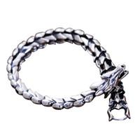 dragón de joyas de jade de plata al por mayor-Jade Angel Thai 925 Silver Dragon Link Pulsera Hombres Joyería Vintage Marca Joyería Diseño Pulsera Fina